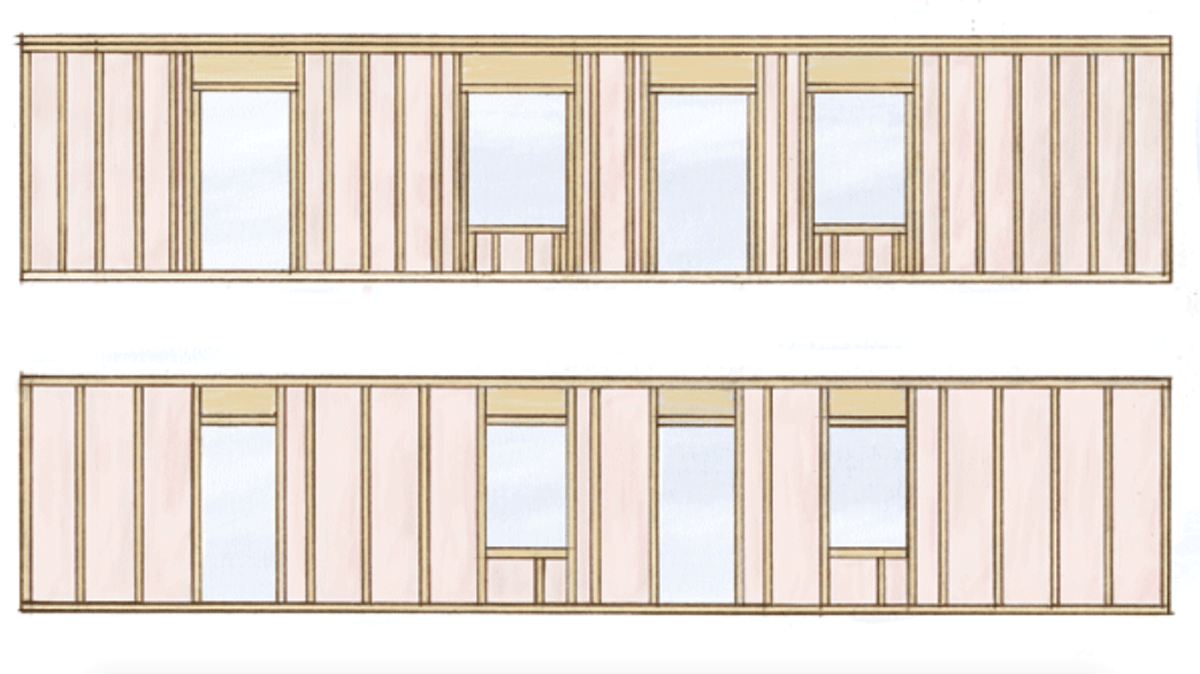 Conventional vs advanced framing (GBA image)