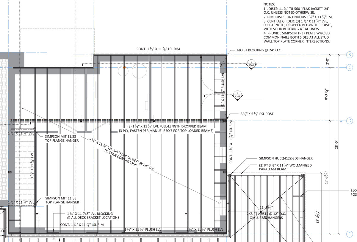 1st fl framing plan 1200x815 floor framing design fine homebuilding