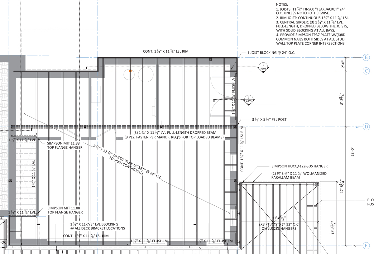Floor framing design fine homebuilding for Timber floor plans