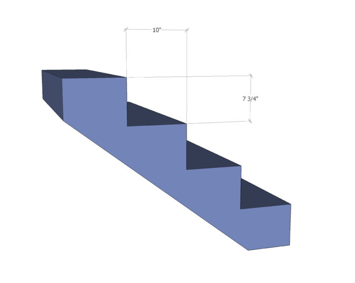 "IRC code limit stair: rise r = 7 3/4"" run R = 10"" r+R = 17 3/4"" (good) 2r+R = 25 1/2"" (within range) → stair will be comfortable"
