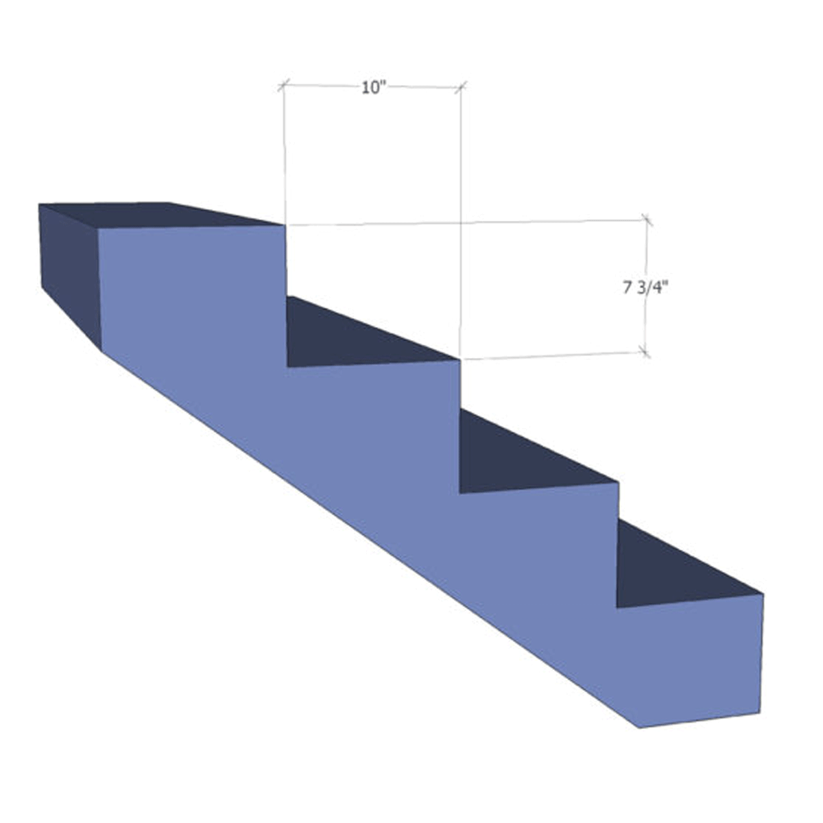"IRC code limit stair: rise r ≤ 7 3/4"" run R ≥ 10"" r+R = 17 3/4"" (good) 2r+R = 25 1/2"" (within range) → stair will be comfortable"