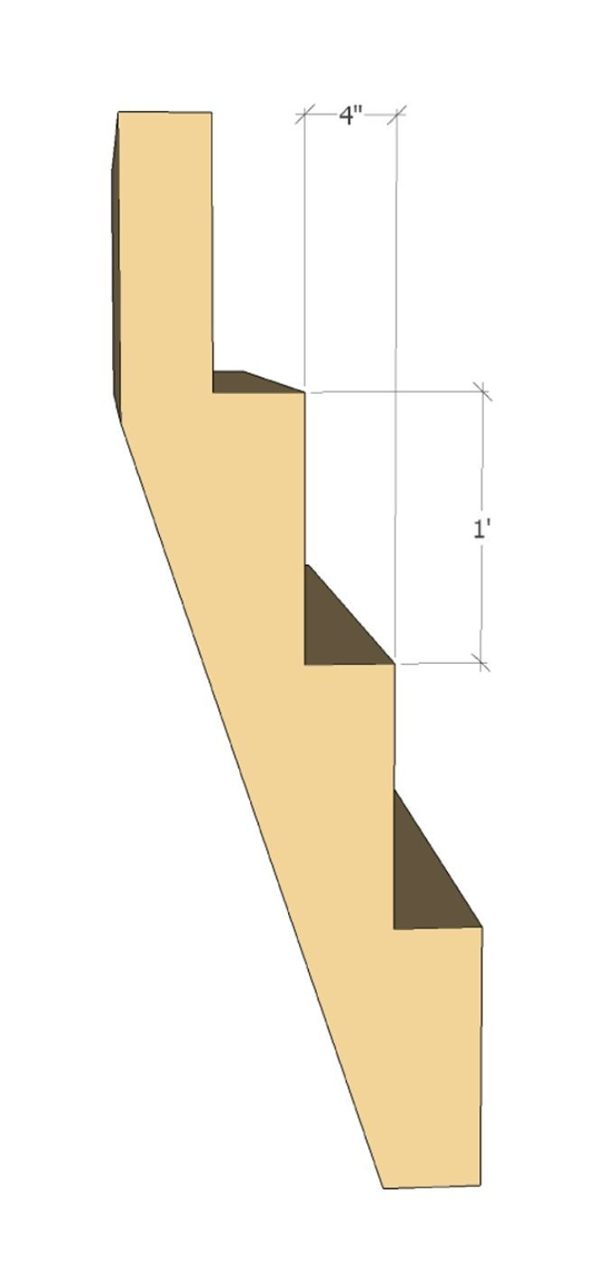 Steep stair example: rise r = 12