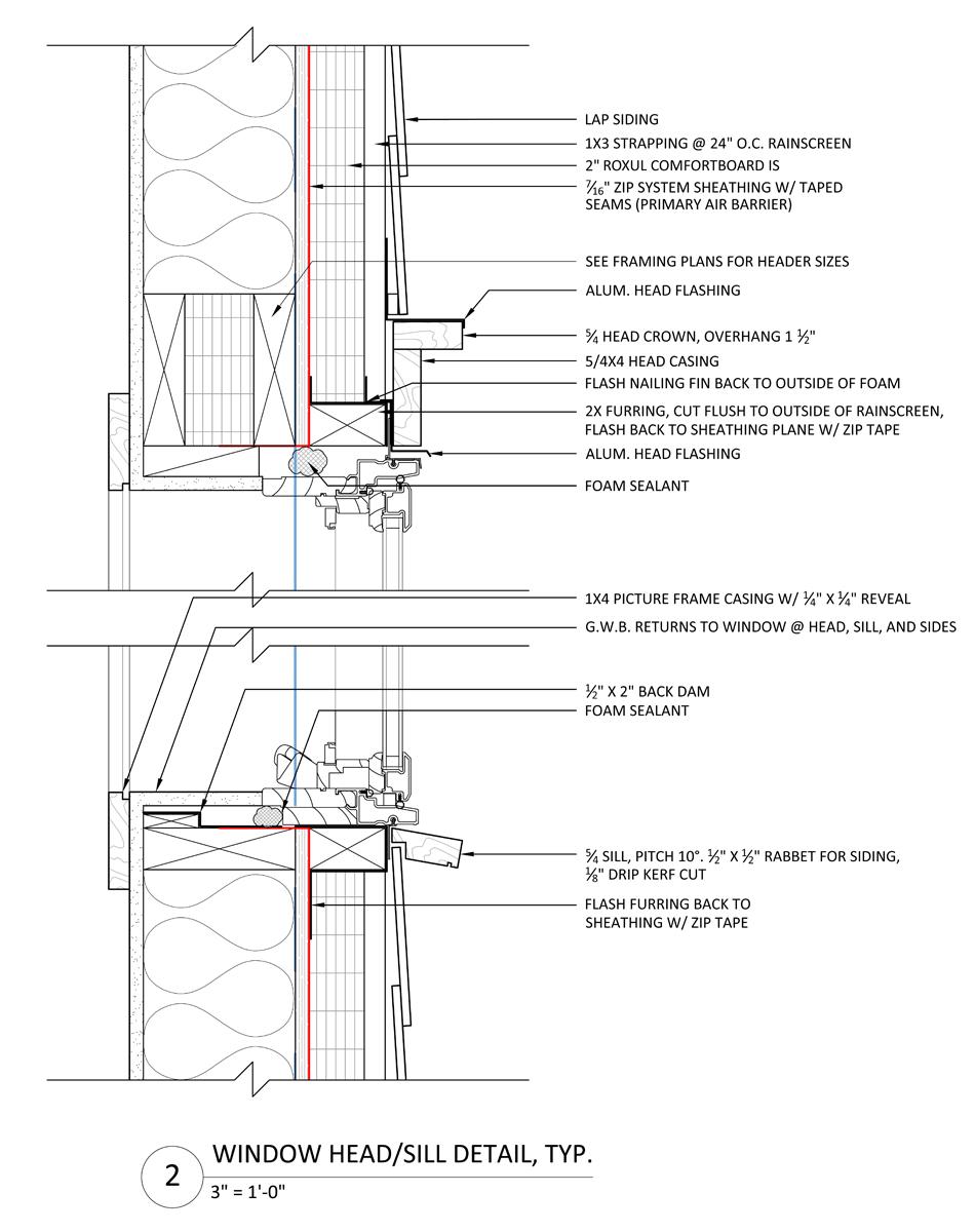 window/head sill detail