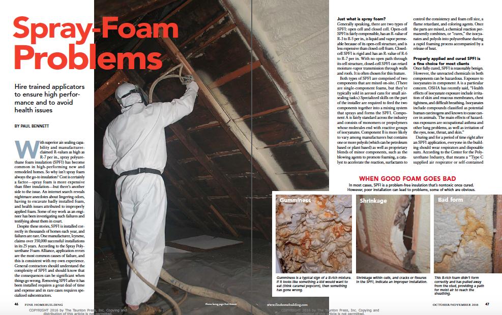 spray foam problems magazine spread