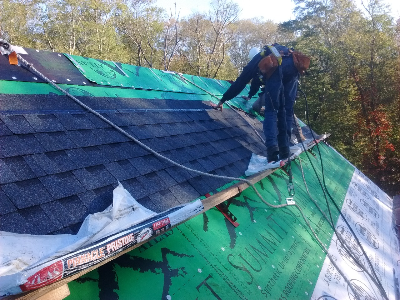 shingles on a steep roof
