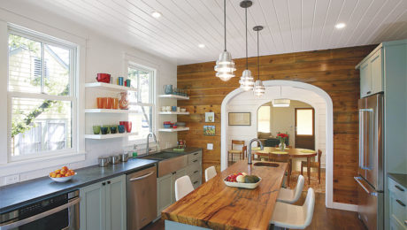 kitchen island with plenty of space on each side