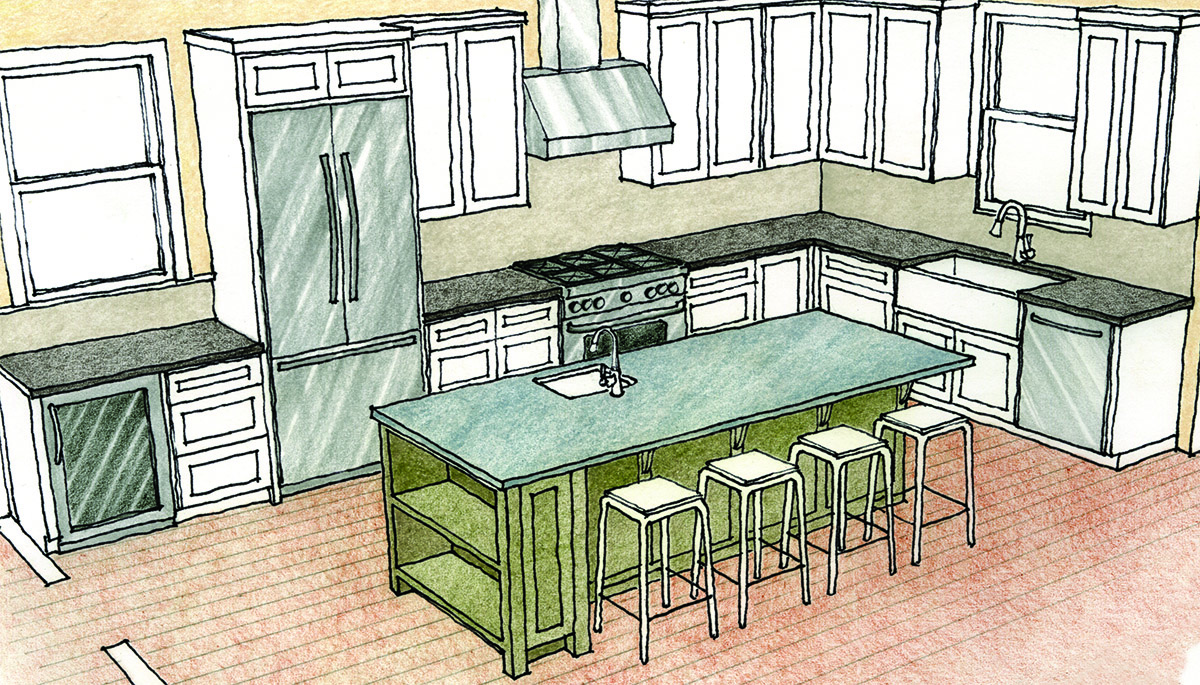 Island Shaped Kitchen Drawing