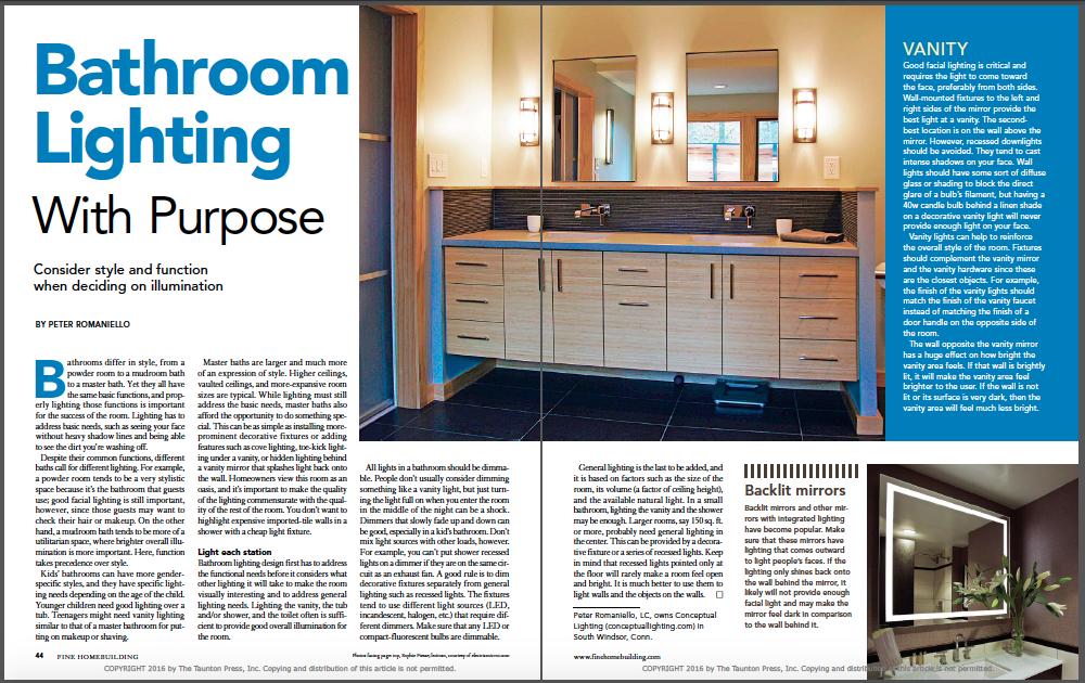bathroom lighting magazine spread