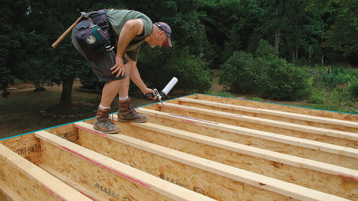 Start straight. Snap a chalkline across the joists 4 ft. from the outside of the rim joist.