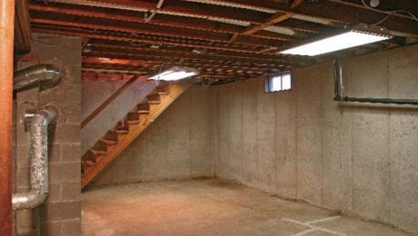 unfinished concrete basement