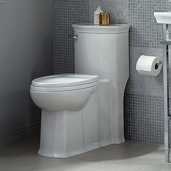 The DXV Wyatt high efficiency toilet in the ProHome powder room features a concealed trapway and one-piece construction for sleek, smooth design lines. Plus, its exclusive EverClean finish inhibits the growth of stain and odor-causing bacteria, mold and mildew on the surface.