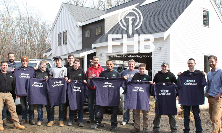 The students working on the ProHOME build show off their #KeepCraftAlive shirts. Also pictured: builder and FHB editorial advisor Mike Guertin, at center, in red; FHB editorial director Rob Yagid, at far left, bearded; FHB editor Justin Fink, at extreme far right.