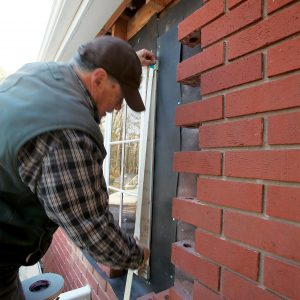 use weather stripping for consistent spacing between the bricks
