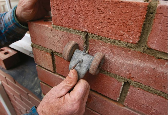 tool mortar joints after drying