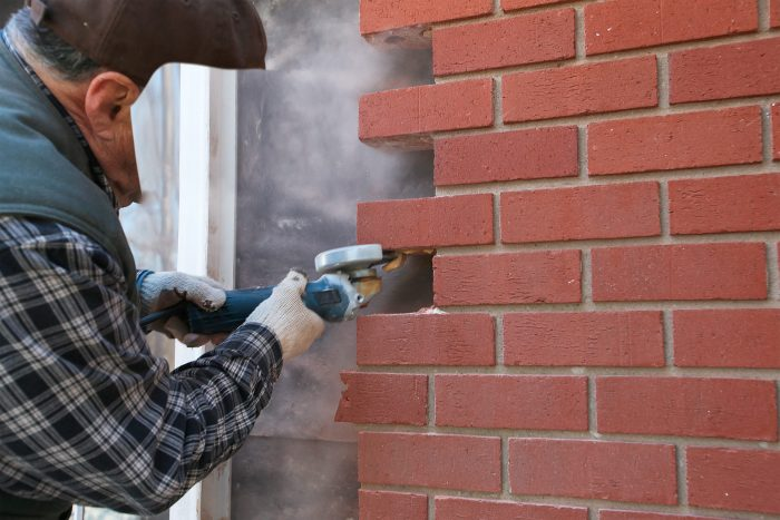 remove mortar gently with a grinder