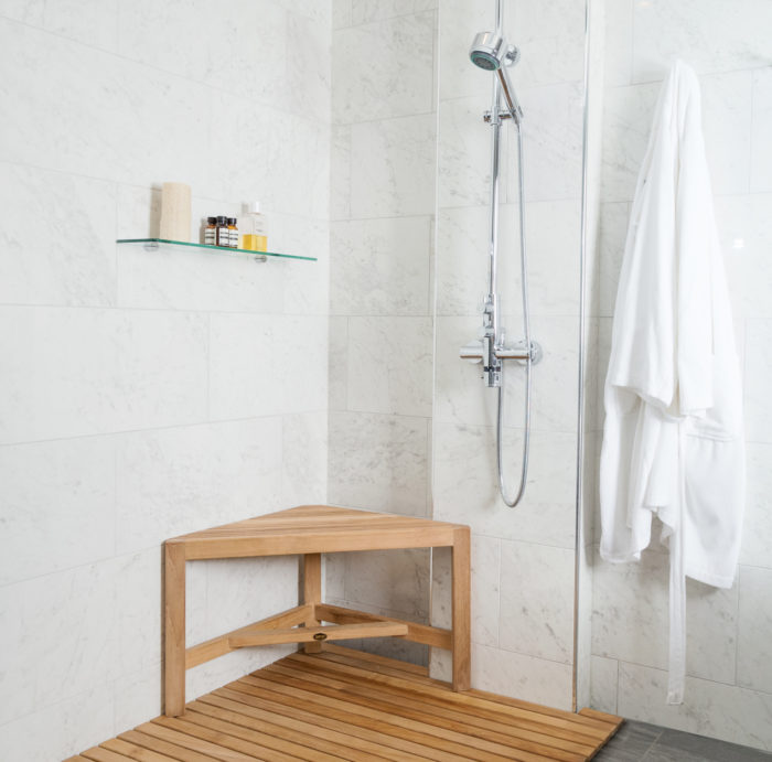 New Teak Shower Bench Is a Three-Legged, Compact Resting Spot - Fine ...