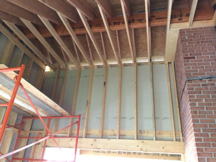 Framing a cathedral ceiling fine homebuilding for Half vaulted ceiling with beams