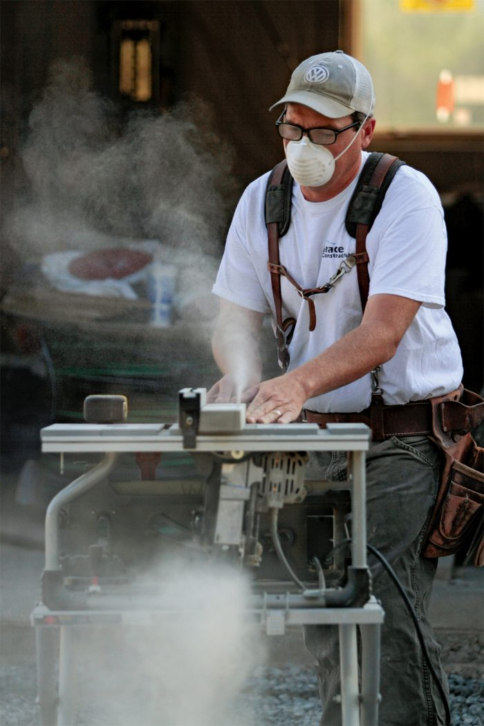 wear a mask while working with poly ash trim