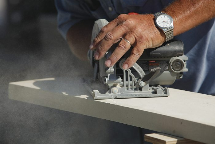 cutting trim with a standard carpentry tool
