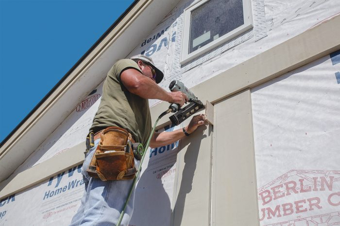 use spacers for consistency in your board and batten siding panels