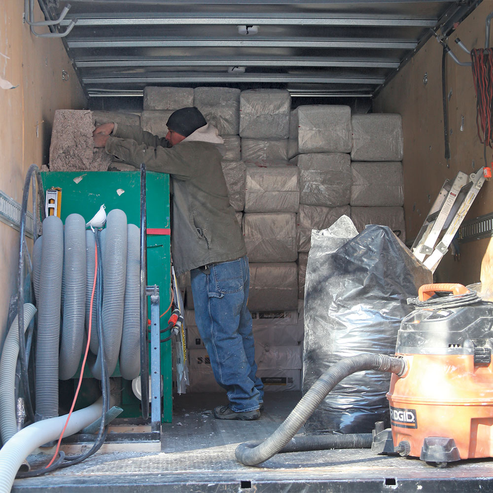 cellulose loader in the truck