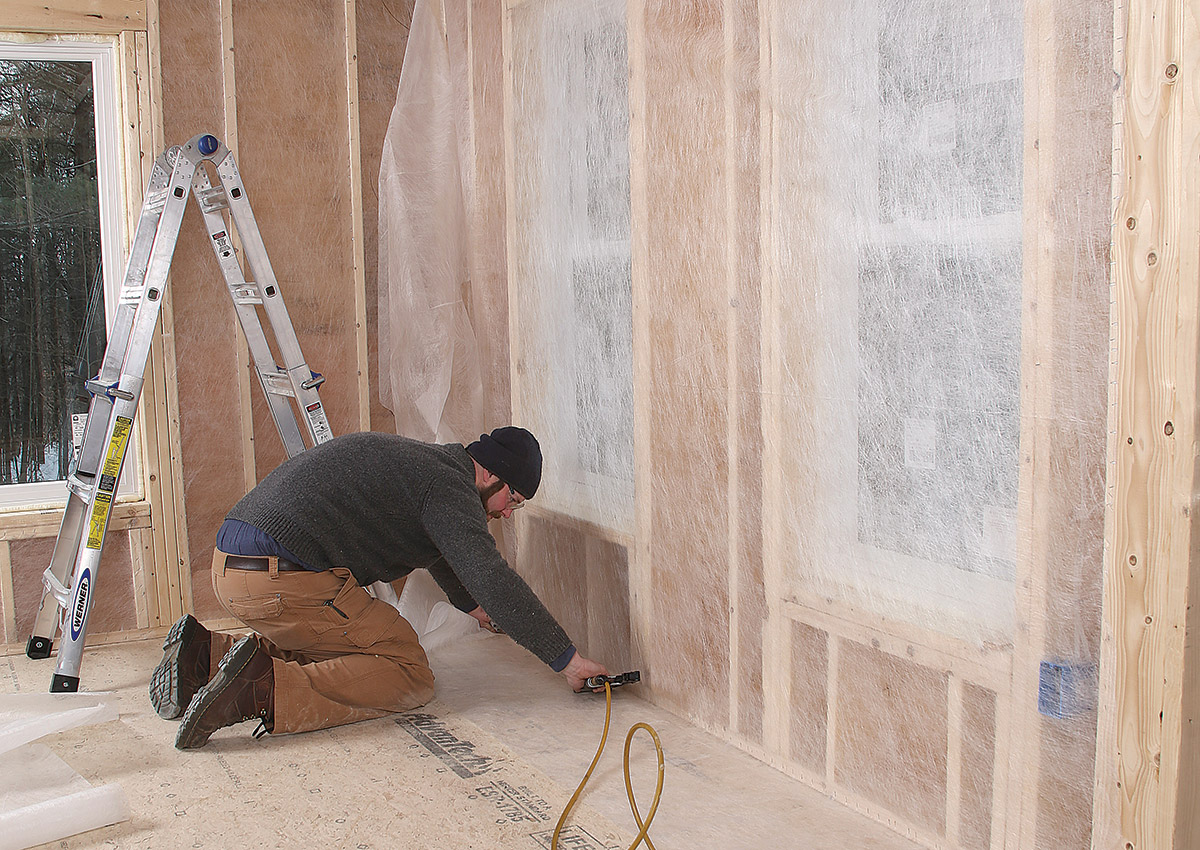 installing netting for dense-pack cellulose insulation