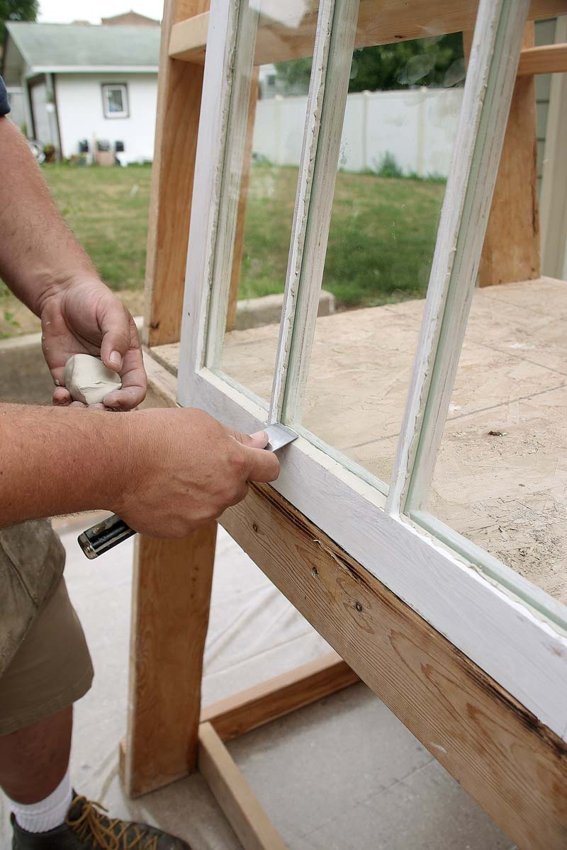 First, glaze the top of each pane.