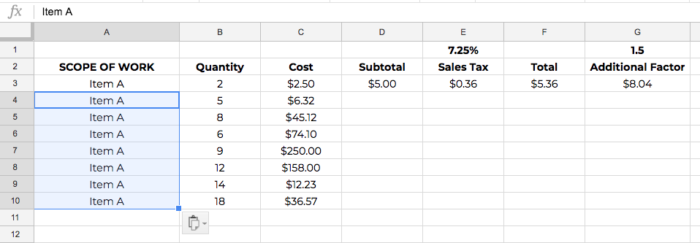 construction estimating spreadsheet template