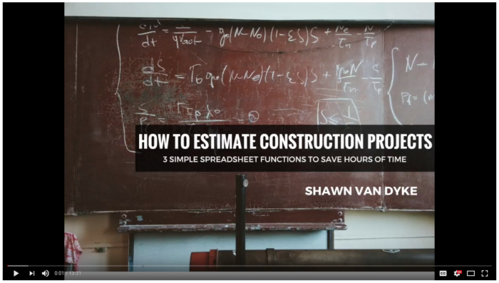 Video-How-to-Estimate-Construction-Projects-Spreadsheet-Functions