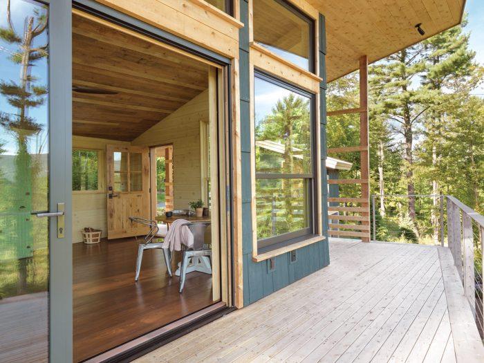 Vermont mountain cabin deck