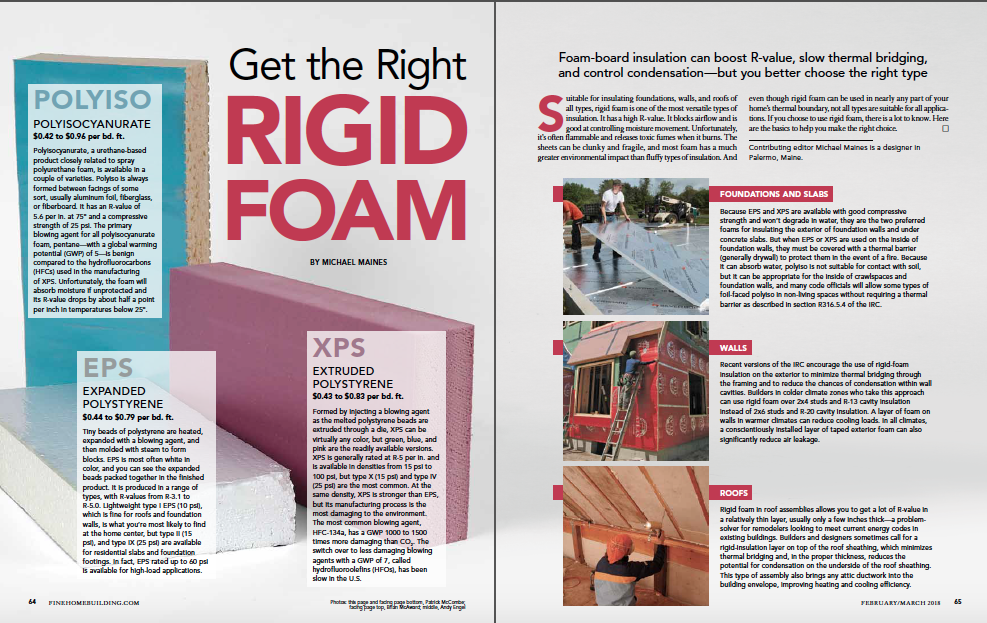 magazine spread of rigid foam