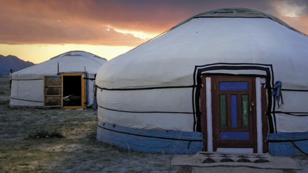 """Green homes don't have to be durable. These gers near Mongolia's Altai Mountains aren't exactly durable, but many would consider them """"green."""""""