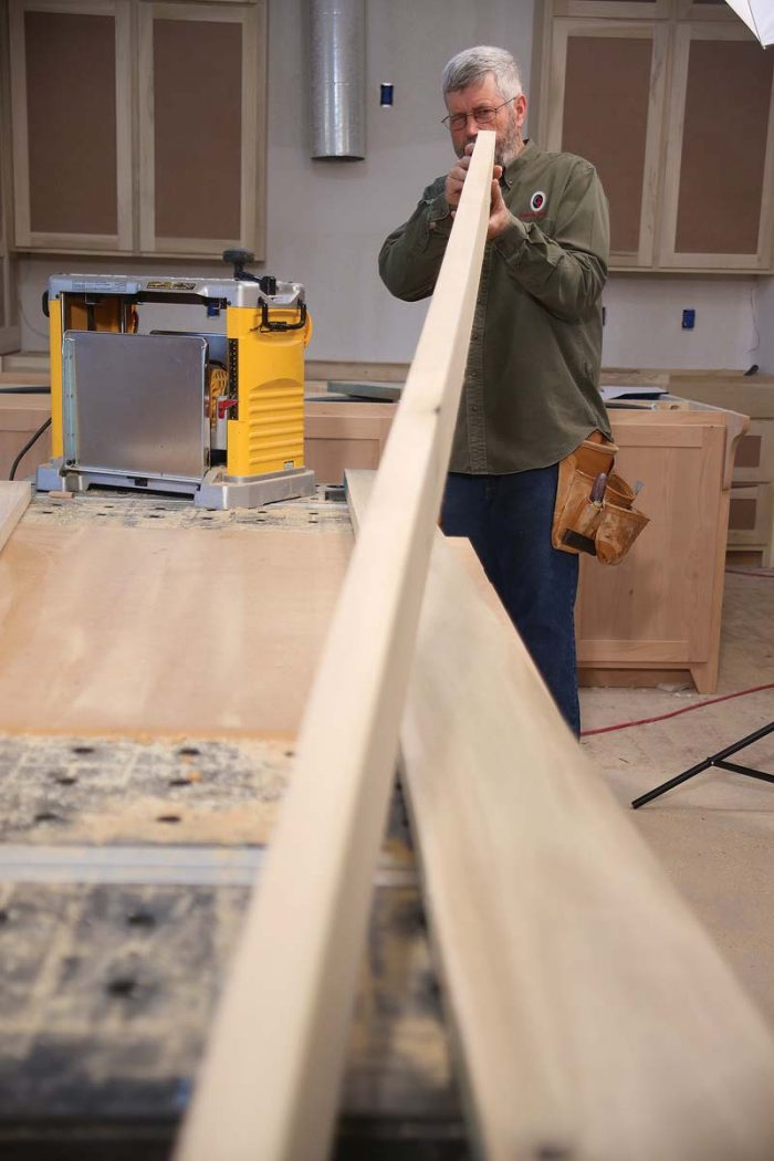 Choose the straightest and flattest boards to use for the longest door parts—the outermost stiles.