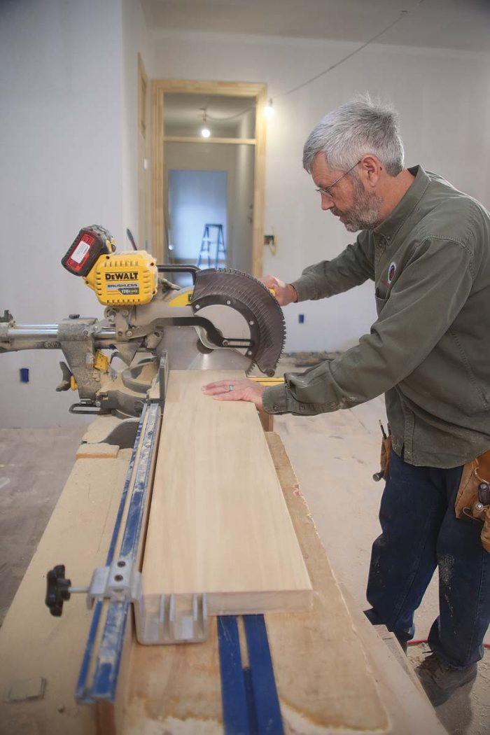 Use a stop. When cutting multiple parts to the same length on the miter saw, use a stop to ensure consistency.