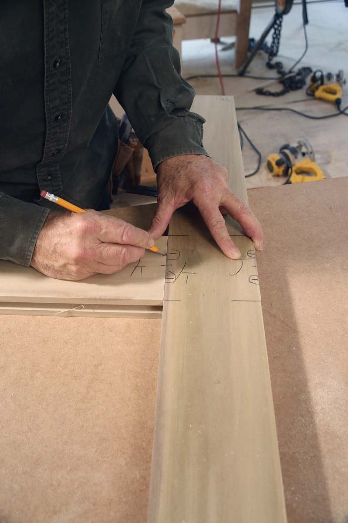 Draw in the joinery. Lay out the Domino locations by drawing a line that crosses each joint, from the stiles to the rails.