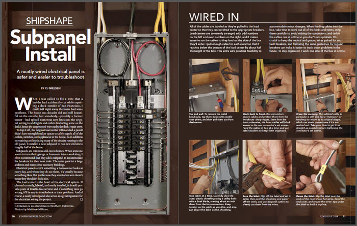 magazine spread of how to install an electrical subpanel
