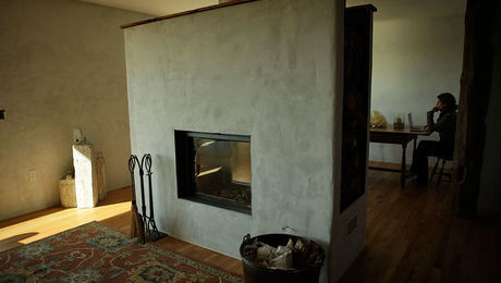 lime-plaster fireplace