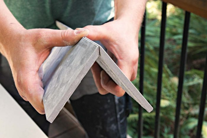 All cuts are followed by a 60-grit diamond hand pad, which smooths surfaces and blunts sharp edges.