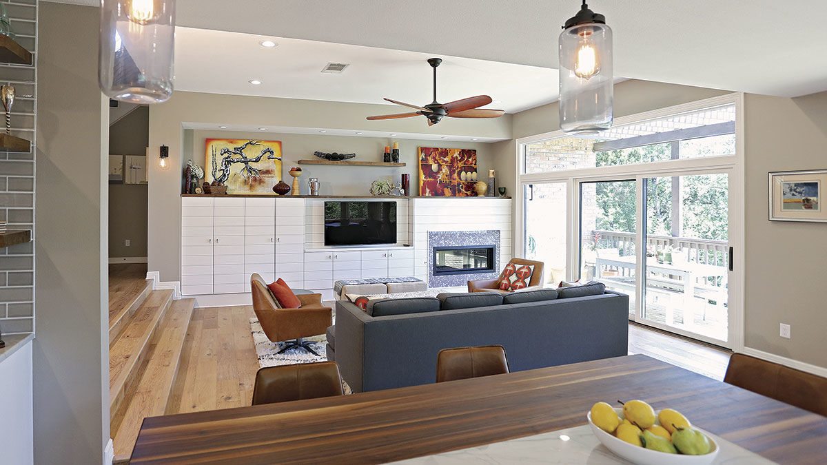 kitchen with open space leading into family room