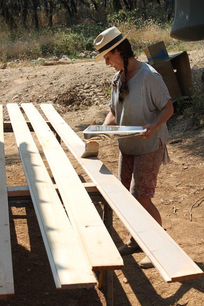 staining the cedar boards