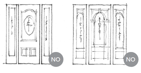 Decorative patterns and shapes on doors