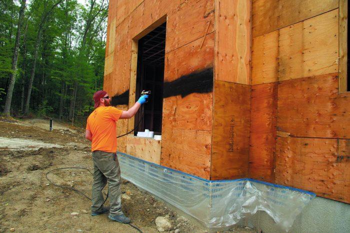 Seams sprayed with waterproof coating