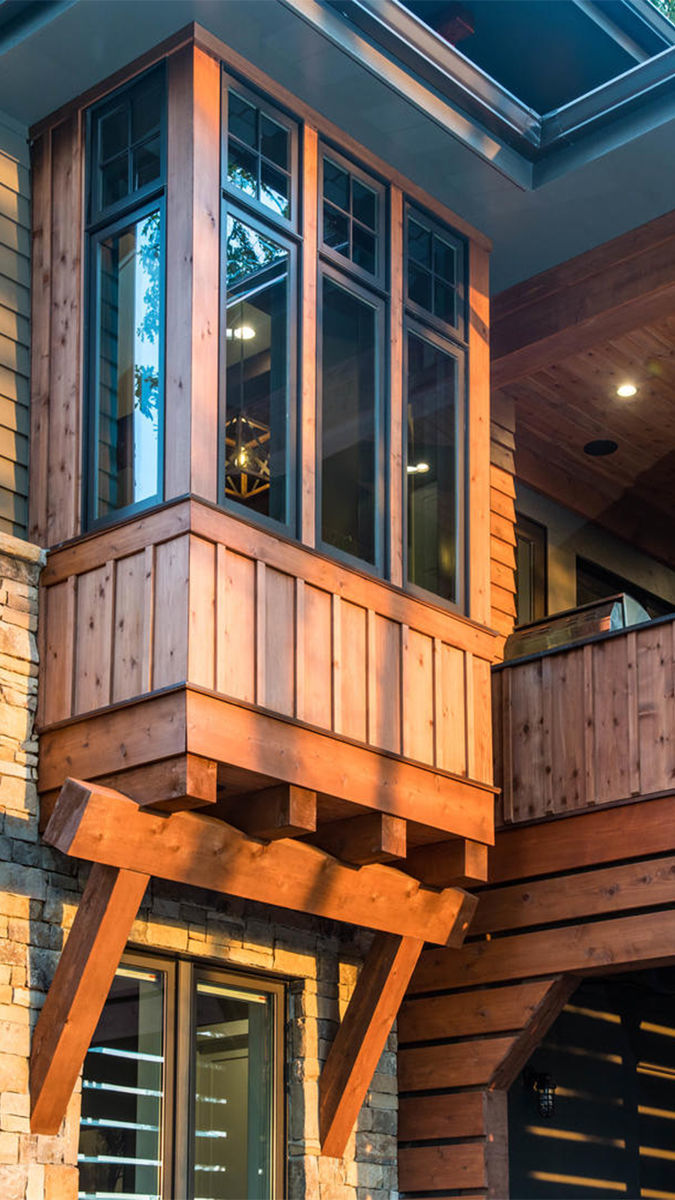 Also Notable On The Exterior Are The Heavy Cedar Post And Beam Timber  Brackets Beneath A Triptych Of Windows On The Front Facade Bump Out, Which  Houses A ...