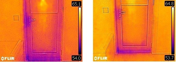 thermal images of our Zola Doors with my Flir C3 to see if there is a visual difference in air leakage with the doors locked vs. just latched.