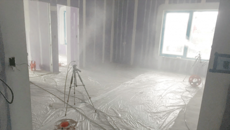 Spray air-sealing. AeroBarrier uses a series of emitters and pressure from a blower door to force a latex sealant into gaps and cracks in the building envelope. The process usually takes half a day or less.