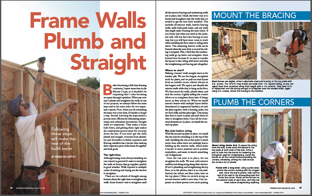 frame walls plumb and straight magazine spread