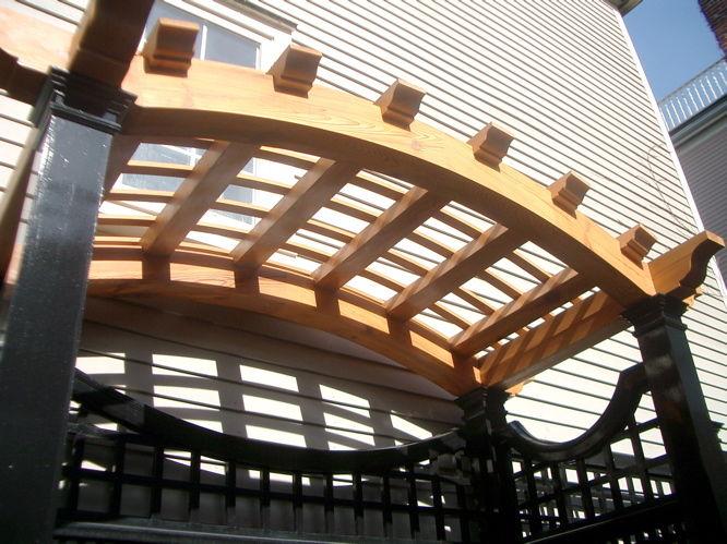 pergola end cuts on large beams fine homebuilding. Black Bedroom Furniture Sets. Home Design Ideas