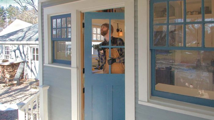 Get the fit right first. After changing the doorway from the standard three hinges to four, scribe and trim the door as necessary to fit the opening.