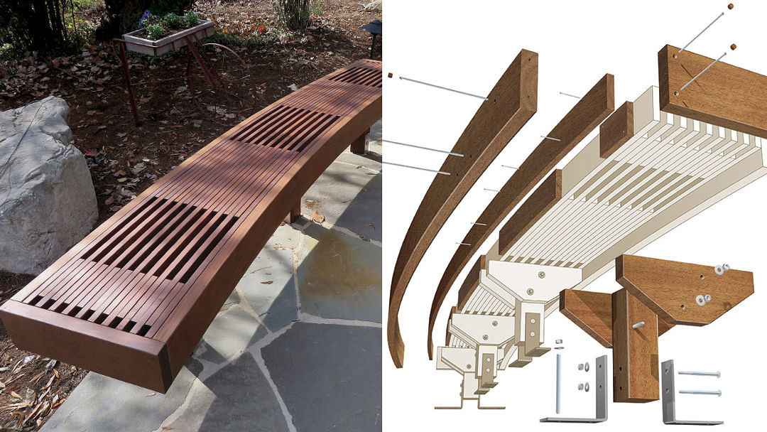 Enjoyable How To Build A Curved Ipe Garden Benches Fine Homebuilding Caraccident5 Cool Chair Designs And Ideas Caraccident5Info