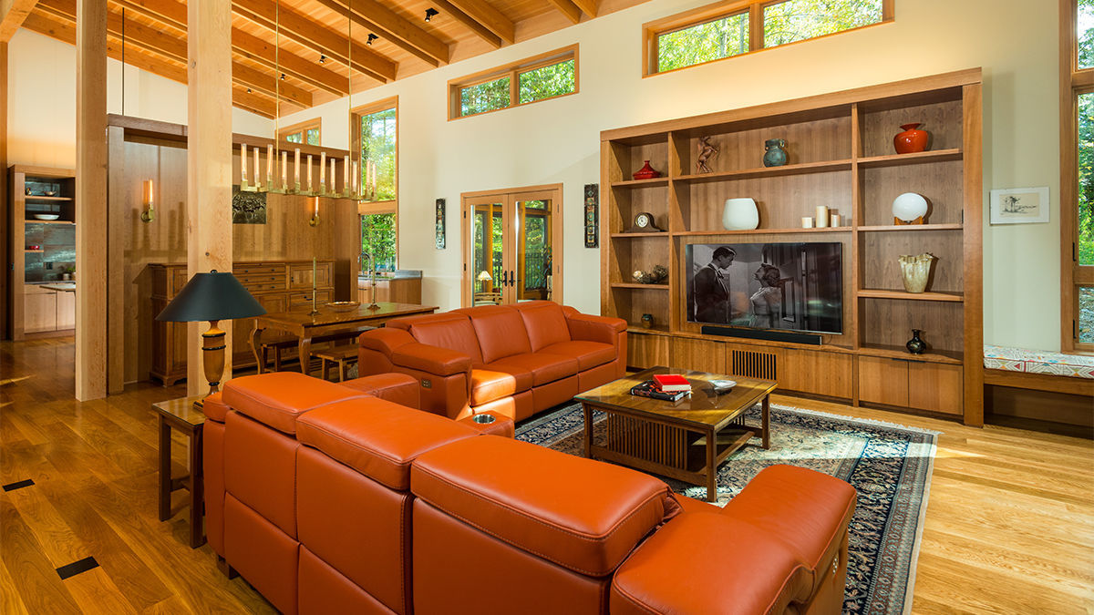 living room in timber frame home